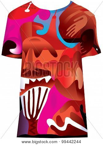 Pattern design in bright red colors in shape of Tshirt