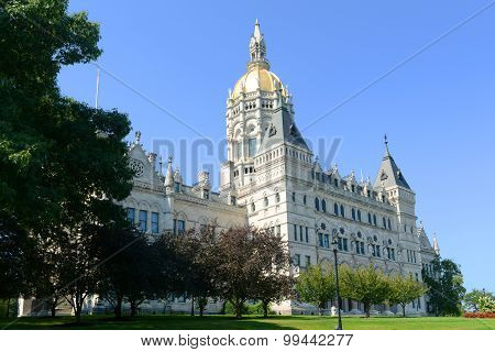 Connecticut State Capitol, Hartford, Connecticut, USA. This building was designed by Richard Upjohn with Victorian Gothic Revival style in 1872. poster