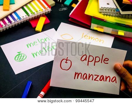 Learning New Language Making Original Flash Cards; Spanish