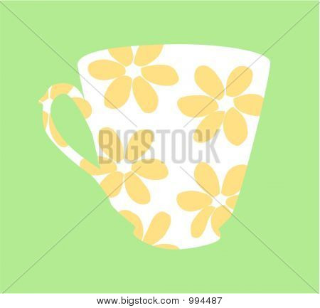 Flowered Tea Cup Design