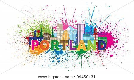 Portland Oregon Outline Silhouette with City Skyline Downtown Panorama Color Text Paint Splatter Isolated on White Background Vector Illustration poster