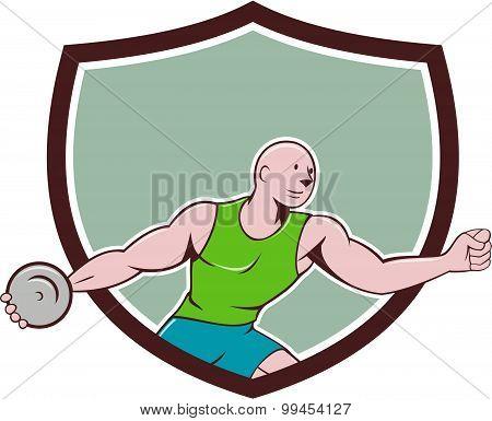 Discus Thrower Crest Cartoon