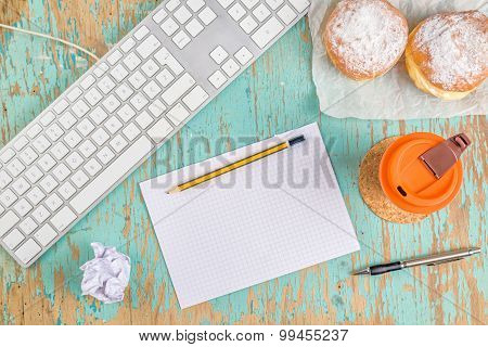 Graphic Designer Rustic Tabletop Workspace