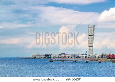 Swedish Malmo West Harbor Area Cityscape With Turning Torso