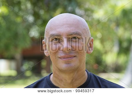 Seniors Portrait, Contemplative Old Caucasian Man Staring At Camera
