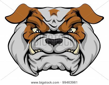 A mean bulldog dog character or sports mascot staring forward poster