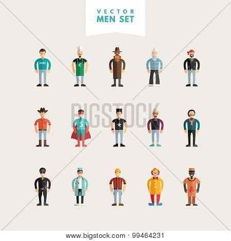 Set Of Flat Design Professional People Characters. Men Set. Sailor, Cowboy, Stylist, Policeman, Clow