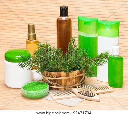 Organic And Natural Cosmetic Products And Accessories For Hair Care