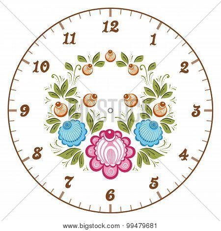 Russian Gorodets Clockface