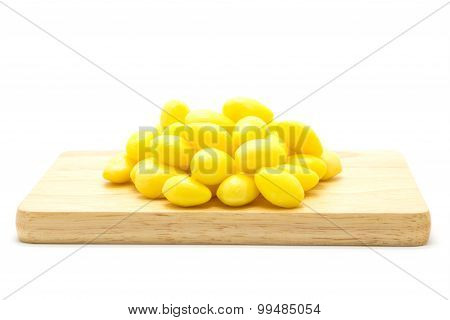 Boiled Ginkgo nut on white