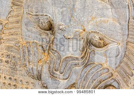 Lion relief detail at the old city Persepolis. poster