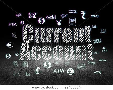 Money concept: Current Account in grunge dark room