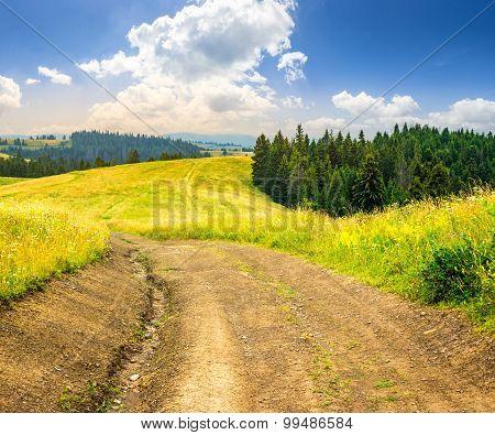 Road On Hillside Meadow In Mountain At Sunrise