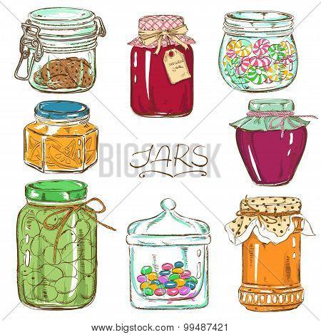 Colorful Set Of Isolated Mason Jars.