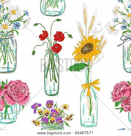 Seamless Pattern Of Mason Jars With Flowers.