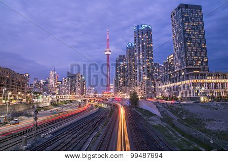 Toronto Downtown And Trains Light Trails
