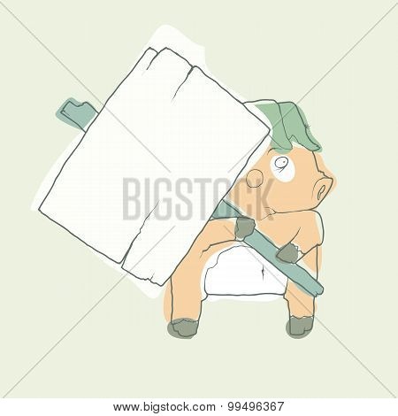 Cartoon Character Pig with wooden poster Isolated on White Background. Vector.