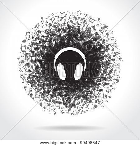 Concept music. Music background with headphones and musical notes. File is saved in 10 EPS version. This illustration contains a transparency