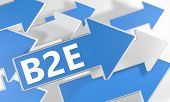 B2E - Business to Employee - 3d render concept with blue and white arrows flying over a white background. poster