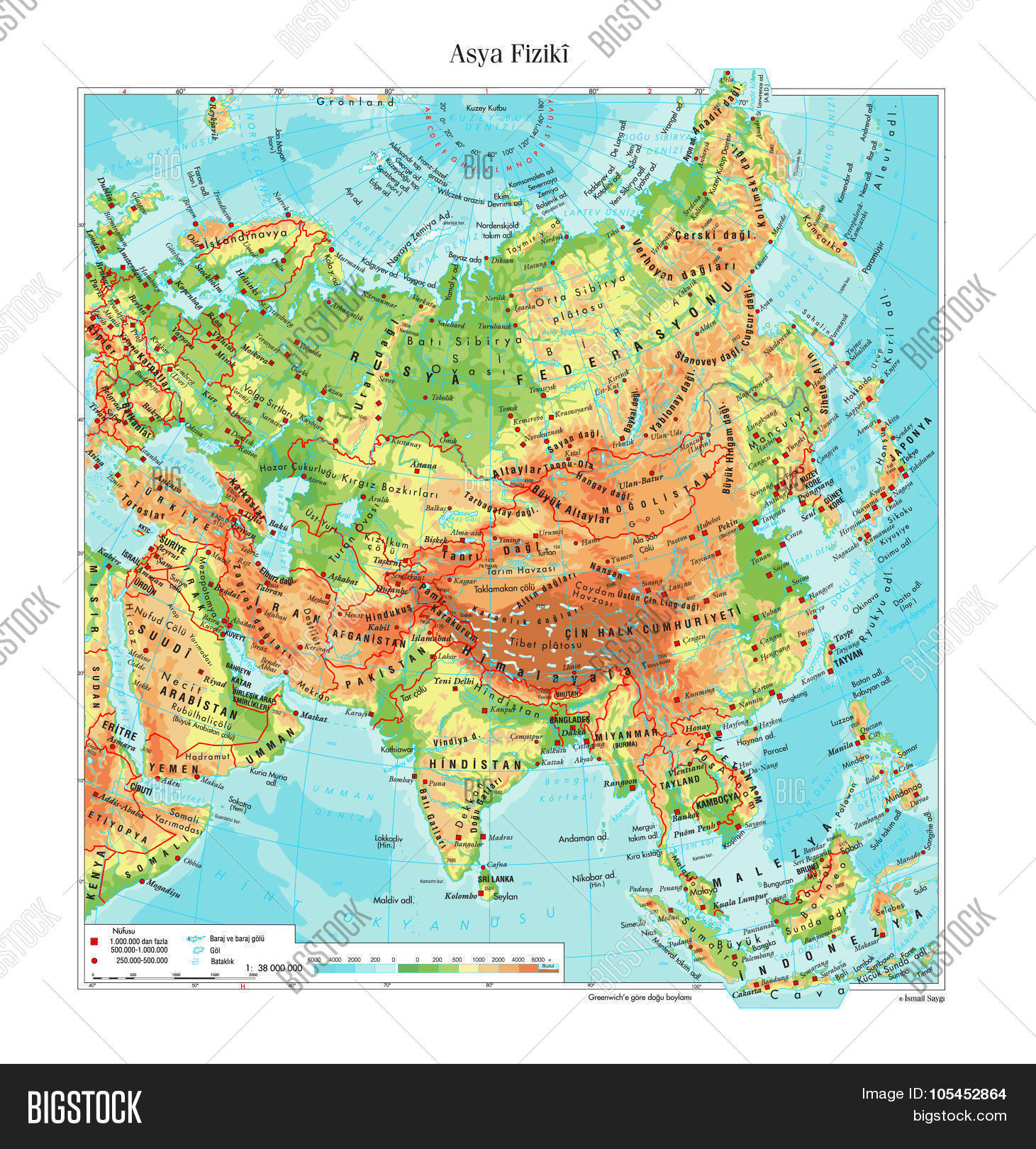 Atlas Map Of Asia.Topographic Map Asia Vector Photo Free Trial Bigstock