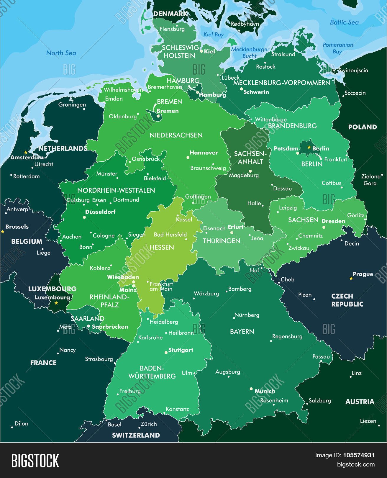 Geographical Map Of Germany.Color Map Germany Vector Photo Free Trial Bigstock