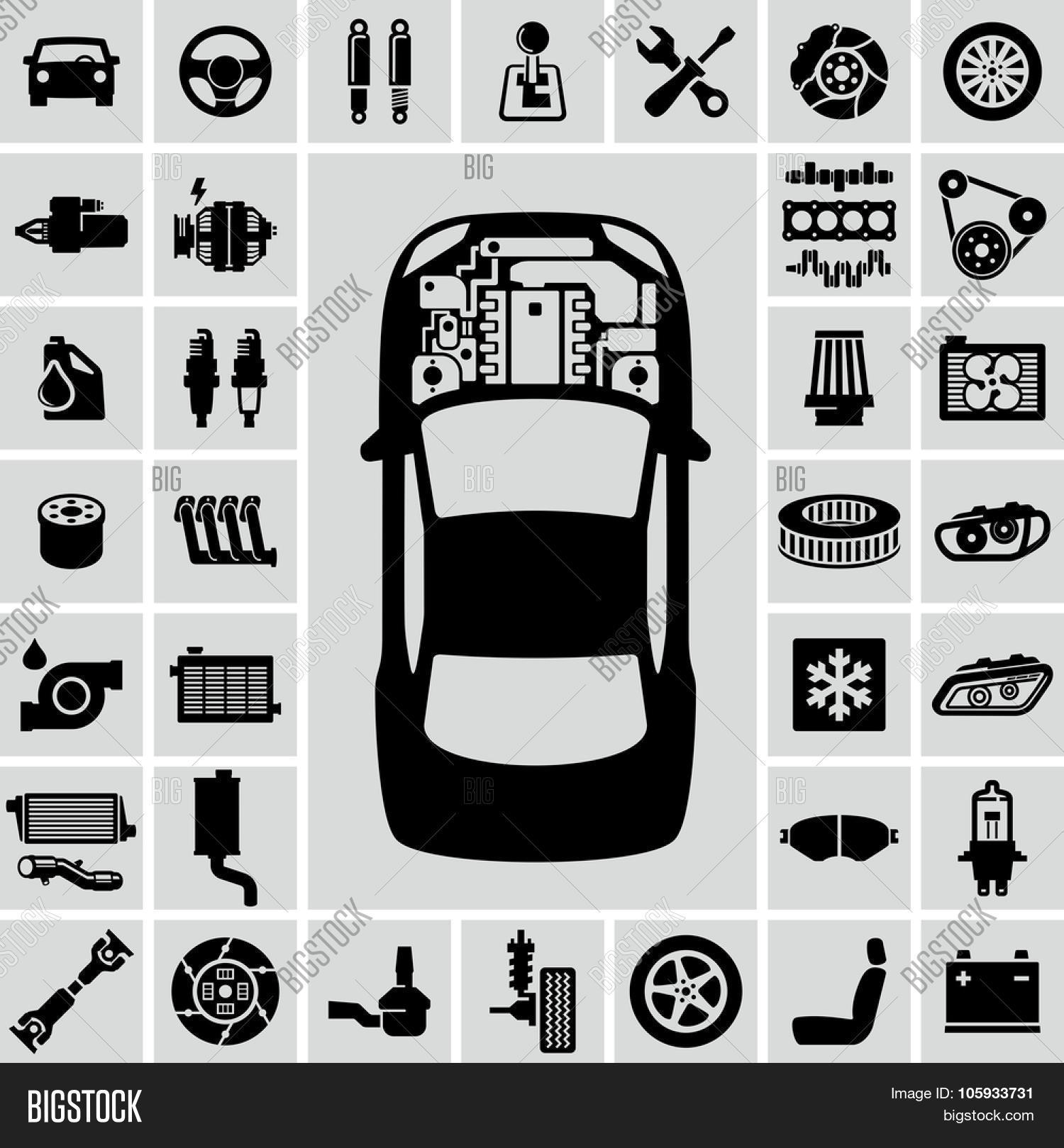 Car Engine Parts Vector Icons Vector & Photo | Bigstock