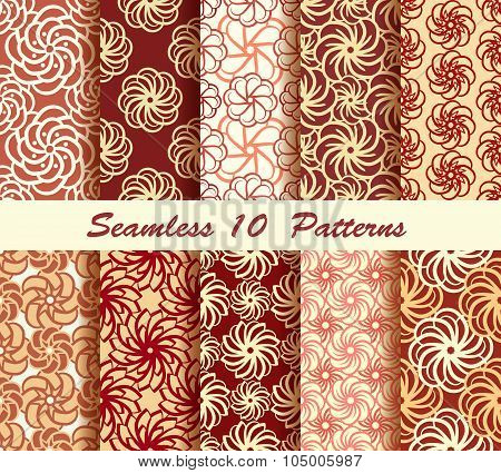 Ten Floral Seamless Pattern