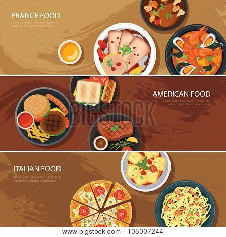 Set Of Food Web Banner Flat Design.france Food,american Food, Italian Food