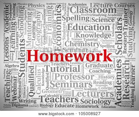 Homework Word Indicating Educated Assignments And Words poster