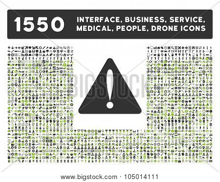 Warning Error icon and other web interface business tools people medical service and awards glyph symbols. Style is bicolor flat symbols eco green and gray colors rounded angles white background. poster