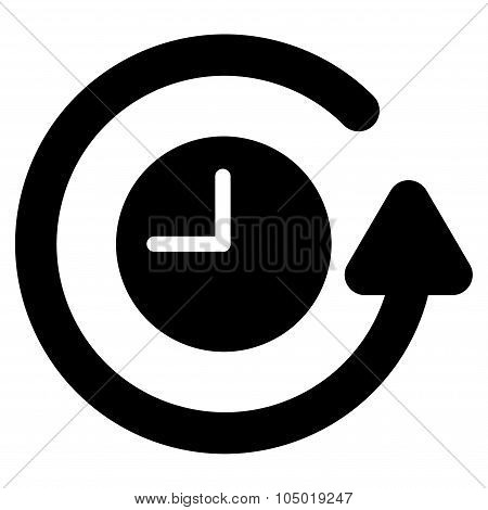 Restore Clock vector icon. Style is flat symbol, black color, rounded angles, white background. poster