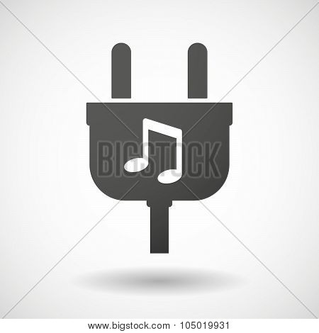 Isolated Plug Icon With A Note Music