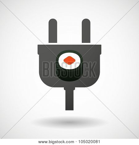 Isolated Plug Icon With A Piece Of Sushi Maki