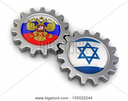 Israeli and Russian flags on a gears (clipping path included)
