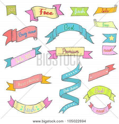 Vintage Color ribbon tape text placeholder doodle hand drawn  vector illustration poster
