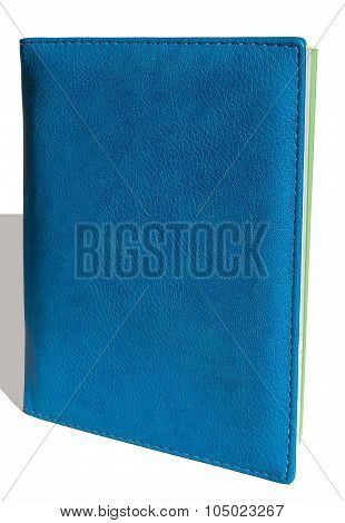 blue leather notebook isolated, vertical