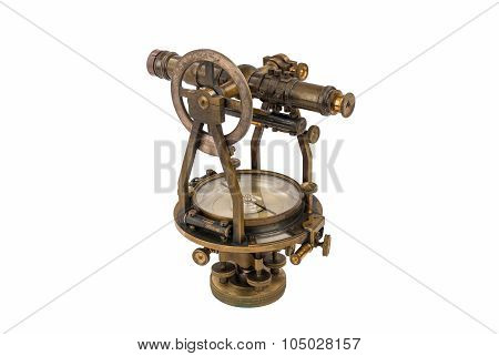 Vintage Surveyor's Level (Transit, Theodolite) with Compass isolated on White.