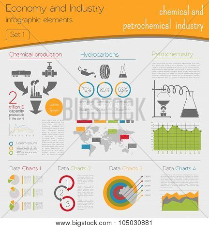 Economy and industry. Chemical and petrochemical industry. Industrial infographic template