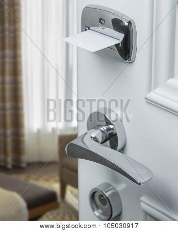 Hotel door with magnetic lock macro