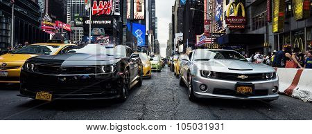 NEW YORK CITY -JULY 9: Times Square featured with Broadway Theaters and animated LED signs is a symbol of New York City and the United States July 9 2015 in Manhattan New York City. USA.