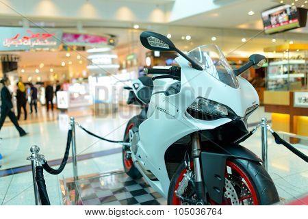 DUBAI, UAE - APRIL 18, 2014: Dubai Duty Free Car Lottery prise. Dubai Duty Free is the company responsible for the duty-free operations at Dubai International Airport