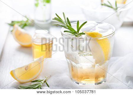 Gin,lemon, rosemary fizz, cocktail