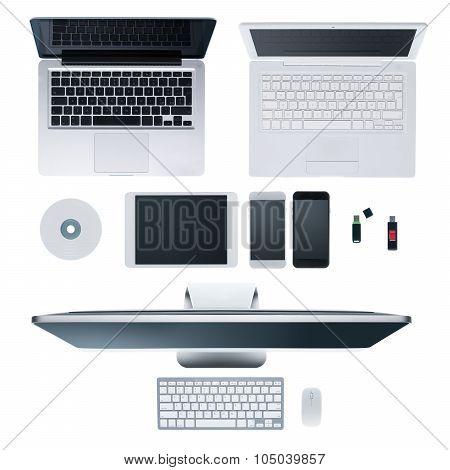 Laptops desktop computer smartphones cd usb stick and tablet on hi-tech white desktop multiplatform and information technology concept poster