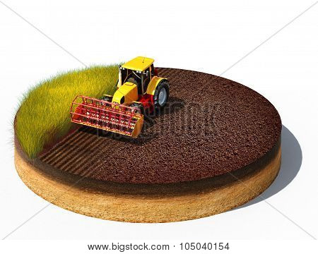 Tractor Preparing Land For Sowing