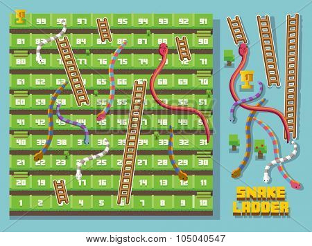 Snake and ladder pixel style vector
