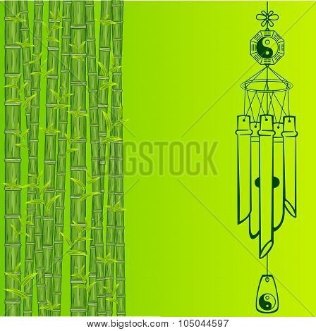 Wind Chimes. Silhouette of a wind chimes. Design element poster