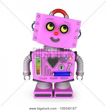 Pink toy robot girl over white background is looking into upper right corner with a smile