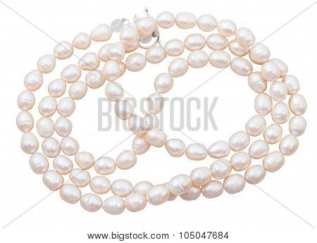Beads From Natural Pink Freshwater Pearls Isolated
