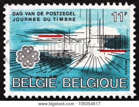 Postage Stamp Belgium 1935 Lines, Stamp Day