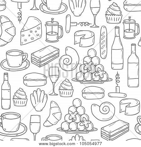 Seamless french food background